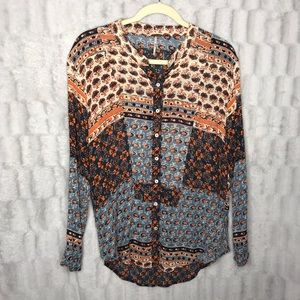 Free People Patchwork Button Down Long Sleeve